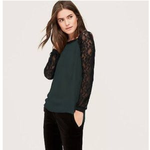 LOFT- EMERALD GREEN BLOUSE WITH BLACK LACE SLEEVES